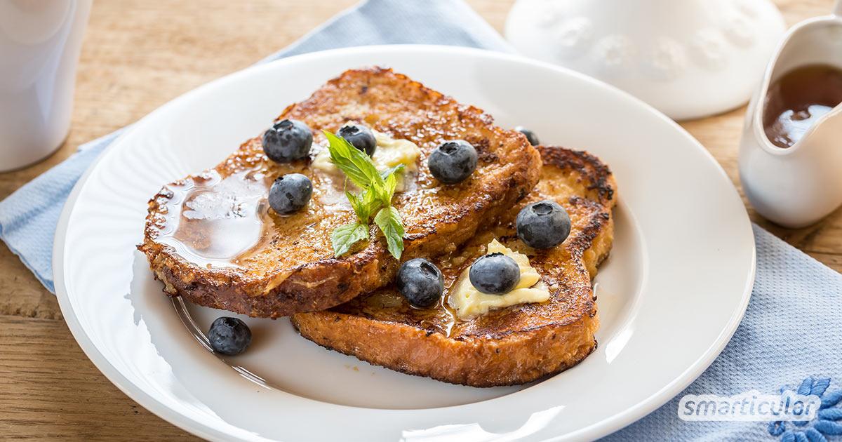 Arme Ritter oder auch French Toast ist eine wunderbare Idee, um übrig gebliebenes Weißbrot und Toast zu verwerten! Sie schmecken süß, herzhaft oder vegan und das Rezept ist einfach und schnell zubereitet.