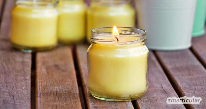 Mit diesen Kerzen machen Mücken einen weiten Bogen um deine Grillparty. Einfach, preiswert und nachhaltig - als Behältnis eignet sich nahezu jedes leere Schraubglas!