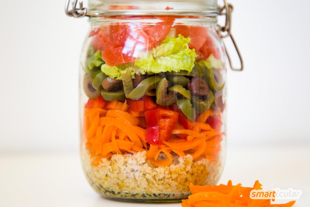 Salat im Glas, die gesunde, abwechslungsreiche Alternative zu abgepacktem Salat und Kantinen-Essen - schnell, lecker und ohne Abfall!
