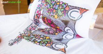 Bevor du ein fleckiges T-Shirts wegwirfst, versuche doch mal, es mit Lavendeldruck zu verschönern! Die Technik ist simpel, das Ergebnis sogar waschbar.