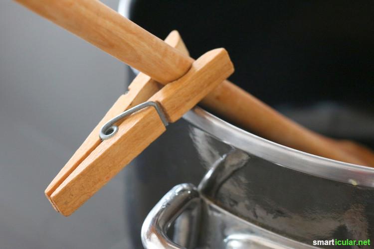 Viele Spezialgeräte in Haushalt und Küche sind überflüssig - nutze doch stattdessen eine einfache Wäscheklammer! Sie kann viel mehr als nur Wäsche an der Leine zu befestigen.