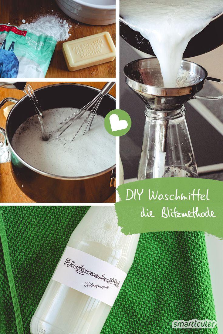 Preiswertes und umweltfreundliches Flüssigwaschmittel herstellen - mit dieser Blitzmethode funktioniert es kinderleicht und ganz ohne Kochen.