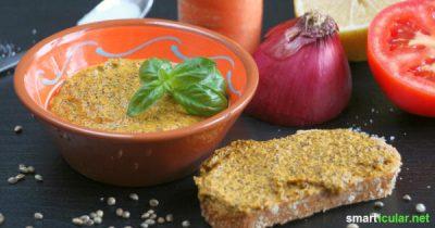 Vegane Brotaufstriche selbst zu machen ist kompliziert und langwierig? Stimmt nicht - mit den gesunden Hanfsamen gelingt es schnell und einfach!