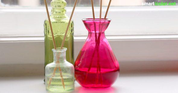 Rezept für selbst gemachte Duftmischung und Stäbchen-Diffuser
