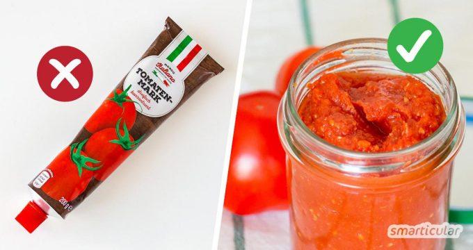 Wohin mit den vielen Tomaten? Mit diesem Rezept kannst du die Tomatenschwemme zu köstlichem Tomatenmark verarbeiten.