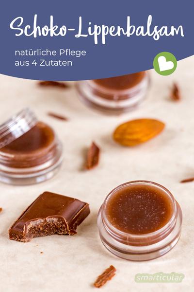 Ein selbst gemachter Schoko-Lippenbalsam pflegt die Lippen mit Kakaobutter, Mandelöl und Bienenwachs und schmeckt lecker schokoladig!
