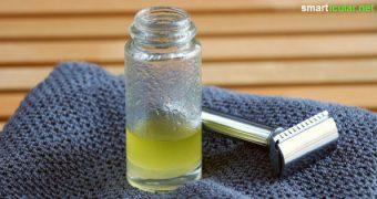 Warum teuren Rasierschaum kaufen? Mit diesem Rasieröl aus zwei Zutaten geht das Rasieren genauso leicht und es pflegt und nährt die Haut noch zusätzlich.