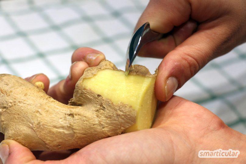 Ingwer schälen - muss das sein oder nicht? Hier erfährst du, wann du die Knolle schälen solltest und wie es am besten funktioniert!