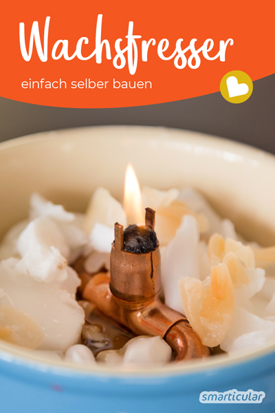 Nie mehr Wachsreste: Mit diesem selbst gebauten Wachsfresser erhältst du eine Dauerkerze, die du mit Kerzenwachsresten füttern kannst.
