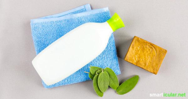 Mit diesem einfachen Rezept für natürliches Shampoo aus Seife und Kräuterauszügen und/oder ätherischen Ölen pflegst du dein Haar natürlich gesund und sparst zudem Geld und Verpackungsmüll.