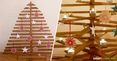 Dieser selbst gebaute Weihnachtsbaum aus Holz hält viele Jahre lang und ersetzt den klassischen Baum, der nach wenigen Tagen auf dem Müll landet.