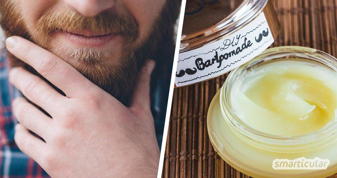 Beim Küssen schon mal gekratzt? Dagegen hilft eine selbst gemachte Bartpomade aus nur wenigen Zutaten. Sie pflegt das Barthaar weich und geschmeidig.