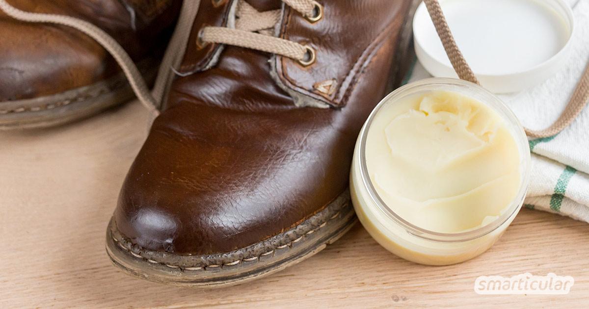 Eine natürliche Schuhcreme selber zu machen, gelingt mit Bienenwachs, Lanolin und Pflanzenöl. Mineralöle und andere bedenkliche Stoffe sind gar nicht nötig!