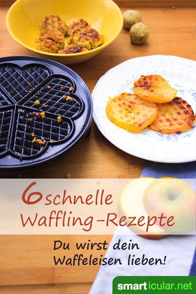 Dein Waffeleisen kann mehr als nur Waffeln! Probiere doch mal, damit kleine, schnelle Gerichte zuzubereiten - viel schneller, als wenn du extra den Ofen aufheizen müsstest.