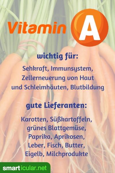 In welchen Lebensmitteln besonders viel Vitamin A enthalten ist, und wofür es im Körper notwendig ist, erfährst du hier.