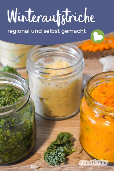 Auch im Winter lassen kannst du leckere Gemüseaufstriche selber machen. Mit diesen regionalen Rezepten zauberst du dir Frische und Farbe aufs Brot!