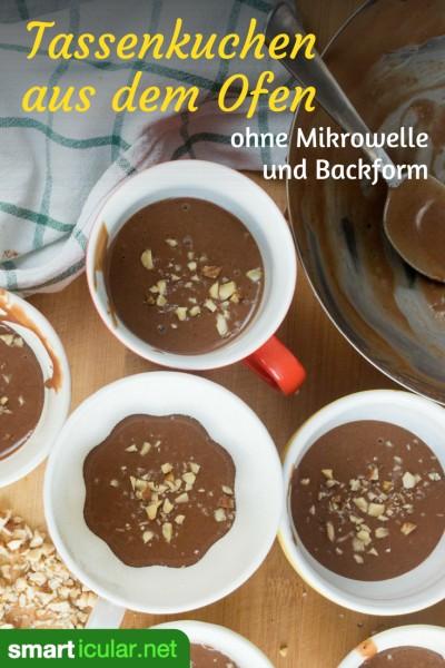 Wenn dich der kleine Hunger packt, ist ein Tassenkuchen eine einfache und leckere Idee. Mit diesem Rezept gelingt es auch im Backofen - ohne Mikrowelle.