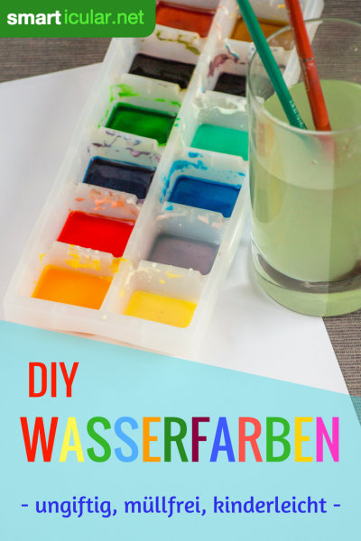 Diese selbst gemachten Wasserfarben dürfen auch mal im Kindermund statt auf dem Papier landen, denn sie bestehen aus nur vier ungiftigen Zutaten.