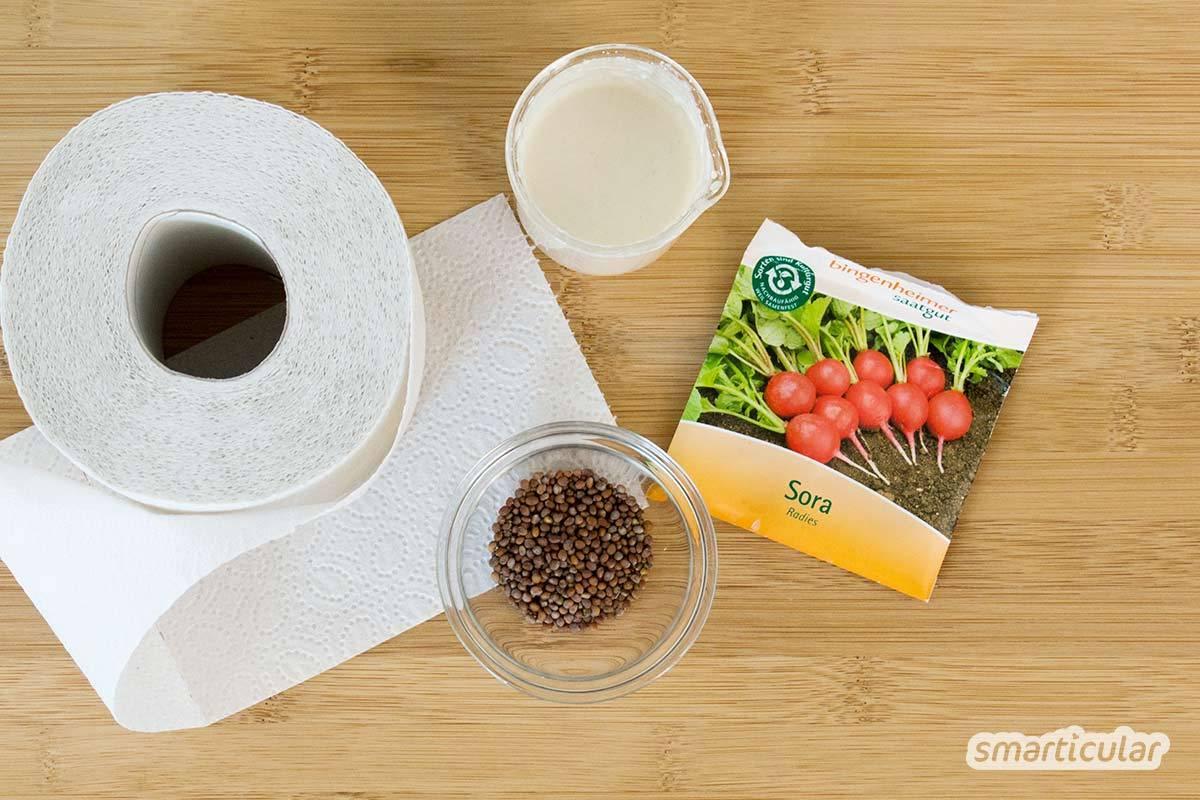 Mit selbst gemachten Saatbändern gelingt die gleichmäßige Aussaat im Handumdrehen und du sparst dir die Vereinzelung der Setzlinge. Auch für Kinder geeignet