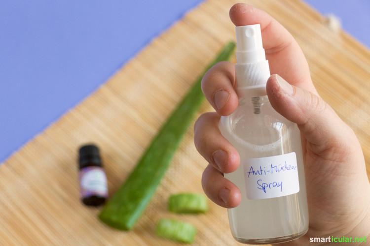 Wenn du auf aggressive Chemie zur Insektenabwehr lieber verzichten möchtest, kannst du ein hautfreundliches Anti-Mücken-Spray schnell aus wenigen Zutaten selbst zubereiten.