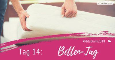 Für einen gesunden Schlaf lohnt es sich, die Bettwäsche, Kissen, Decken und auch die Matratze regelmäßig zu reinigen. Das ist heute an Tag 14 der Blitzblank-Challenge dran!