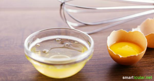 Übrig gebliebenes Eiweiß brauchst du nicht wegzuwerfen - hier findest du sinnvolle Verwendungsmöglichkeiten in Küche und Haushalt!