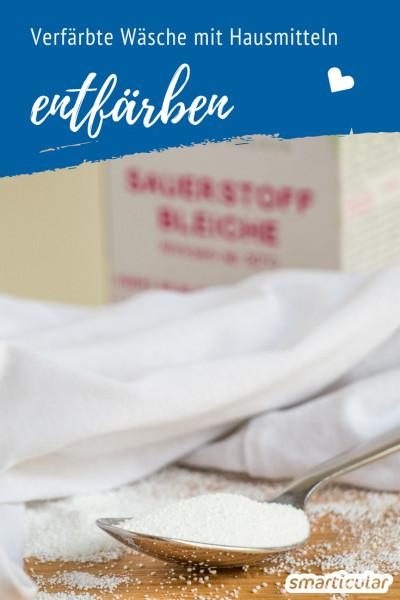 Handelsüblicher Wäscheentfärber schadet häufig nicht nur Umwelt und Gesundheit, sondern auch den Textilien. Das simple Hausmittel Sauerstoffbleiche wirkt viel schonender und ist biologisch abbaubar.