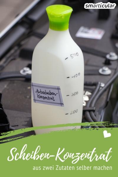 Statt teure Spezialprodukte zu kaufen, kannst du ein effektives und umweltfreundliches Scheibenreiniger-Konzentrat fürs Auto leicht selbst herstellen.