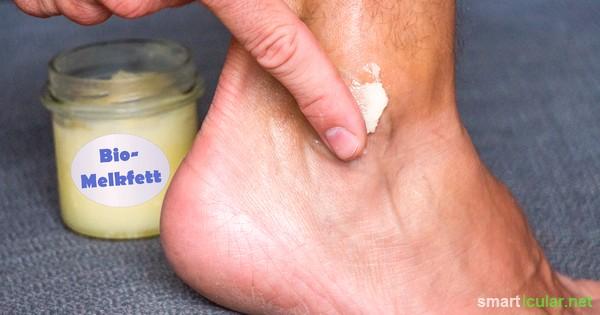 Melkfett, die praktische Universalpflege für trockene Haut, lässt sich aus nur wenigen natürlichen Zutaten einfach selbst herstellen!