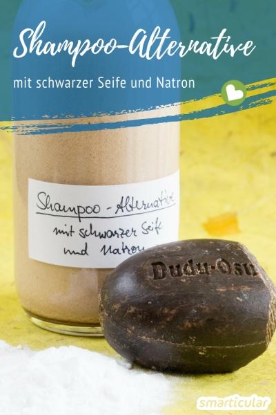 Diese Shampoo-Alternative mit schwarzer Seife und Natron pflegt dein Haar auf natürliche Weise ohne Chemie und Müll.
