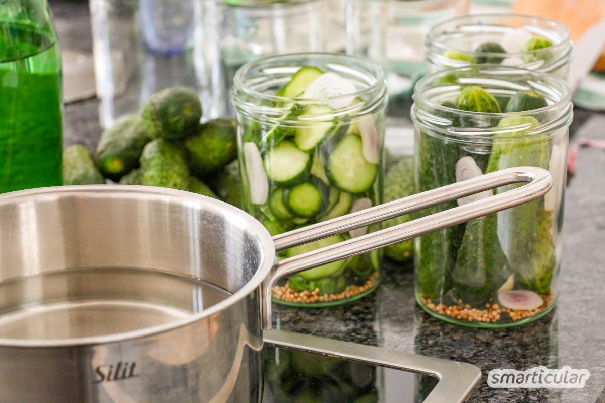 Gurken einzulegen ist nicht schwer. Mit zwei verschiedenen Methoden lassen sich Essiggurken und Salzgurken zubereiten und das ganze Jahr genießen.