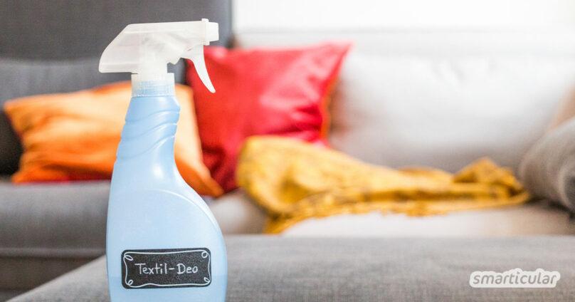 Mit vier Zutaten stellst du schnell eine einfache und preiswerte Alternative für Textilerfrischer her. Das ist so einfach, du musst es einfach probieren.