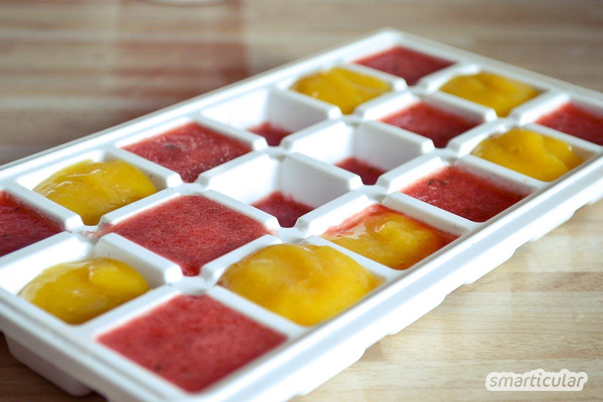 Lust auf gesundes Fruchteis? Diese bunten Eiswürfel eignen sich prima zum Genießen für zwischendurch - oder zum Kühlen deines Sommerdrinks.