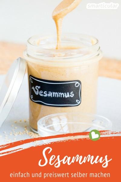 Sesammus ist lecker, vielseitig und ein echtes Nährstoffwunder! Mit dieser Anleitung kannst du es ganz leicht selber machen - auch mit einem ganz normalen Küchenmixer.