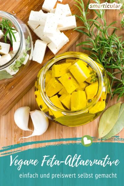 Marinierte Feta-Würfel lassen sich auch in einer veganen Variante zubereiten - kinderleicht und mindestens so lecker wie das Original!