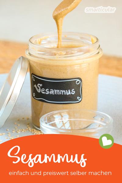 Tahini selber machen ist nicht schwer. Alles, was du brauchst, um das Sesammus herzustellen, ist Sesam, einen Mixer und bei Bedarf etwas Öl.