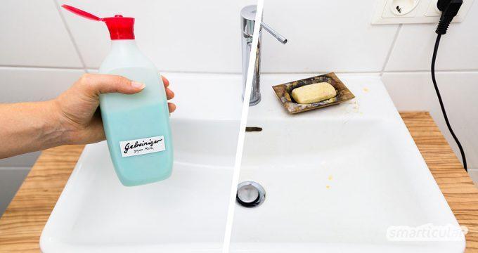 Bei hartnäckigen Kalkrändern in Küche und Bad hilft ein einfaches Kalklöser-Spray oft nicht weiter. Dafür braucht es einen haftenden DIY-Gelreiniger!
