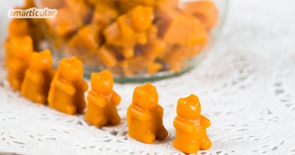 Sich die säuerlich-herben Sanddornbeeren schmackhaft zu machen, ist gar nicht so leicht. Mit diesen köstlichen, vitaminreichen Fruchtgummis zum Selbermachen allerdings schon!