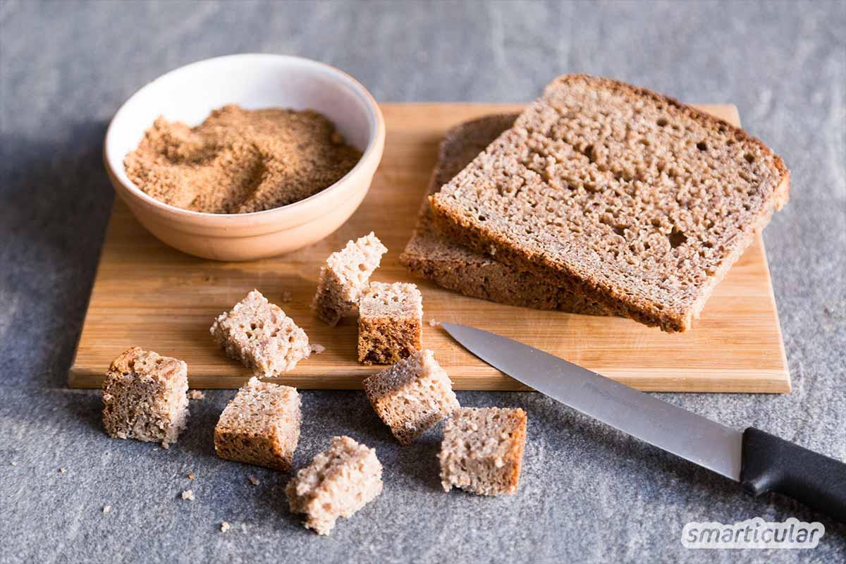 Aufs Müsli statt in die Biotonne: Mit etwas Zucker und einer Prise Salz kannst du aus altbackenem Vollkornbrot ein leckeres Knuspermüsli zaubern.