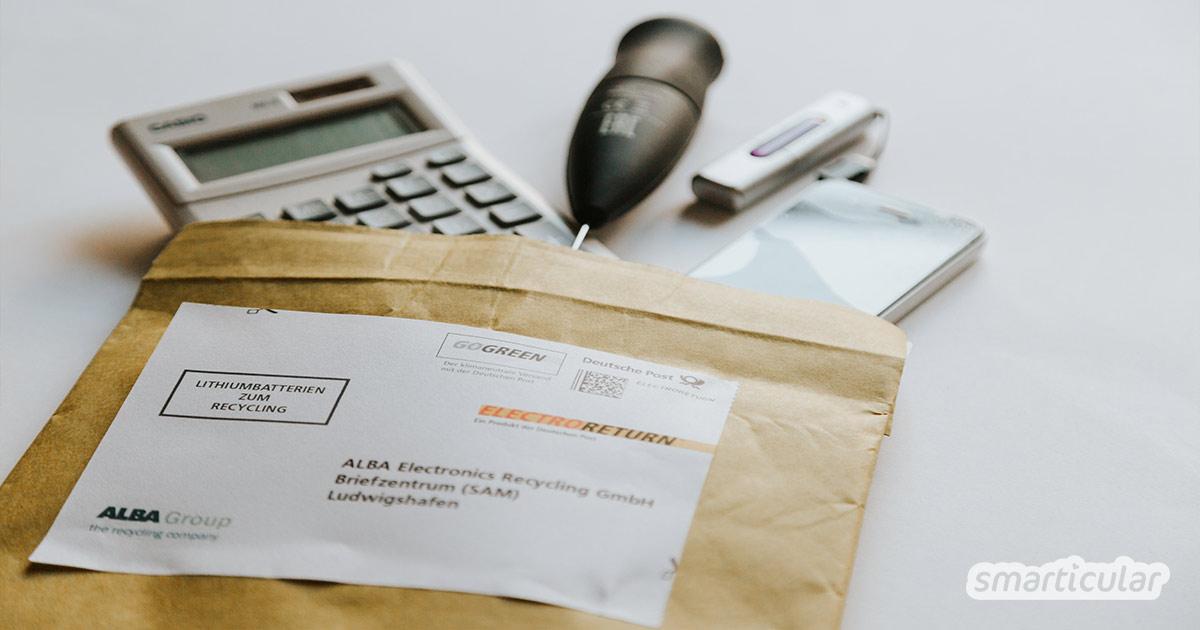 Elektroschrott enthält meist wertvolle Rohstoffe und kann in vielen Fällen sinnvoll recycelt werden. So funktioniert die Entsorgung per Post.