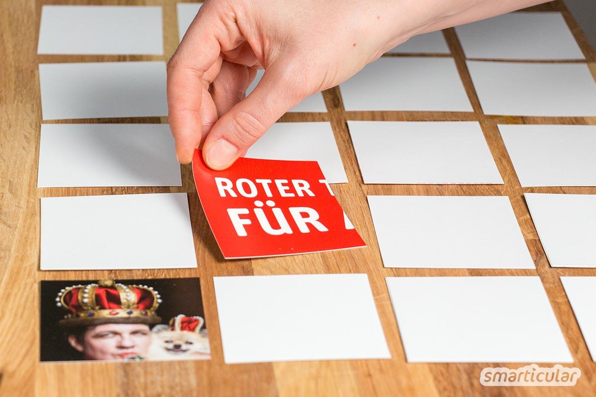 Mit gekauften Kartenspielen sind häufig die Spielregeln schon festgelegt. Selbst gemachte Spielkarten aus Karteikarten und Altpapier sind dagegen viel kreativer und ermöglichen variablen Spielspaß.
