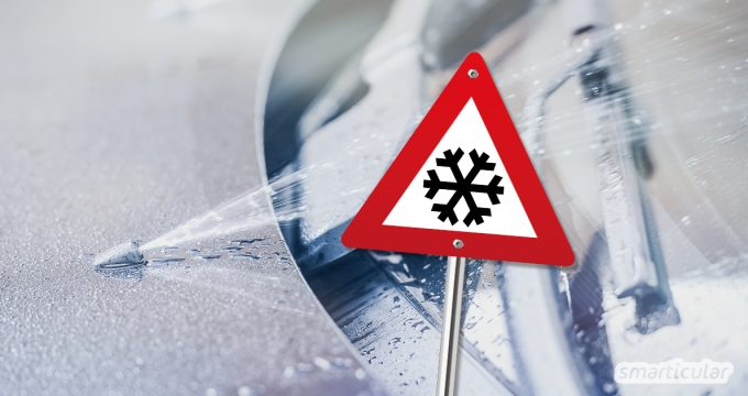 Im Winter muss die Scheibenwaschanlage des Autos mit einem frostsicheren Reinigungsmittel befüllt werden. Statt eines fertigen Mittels kannst du eine umweltfreundliche Mischung selber machen.