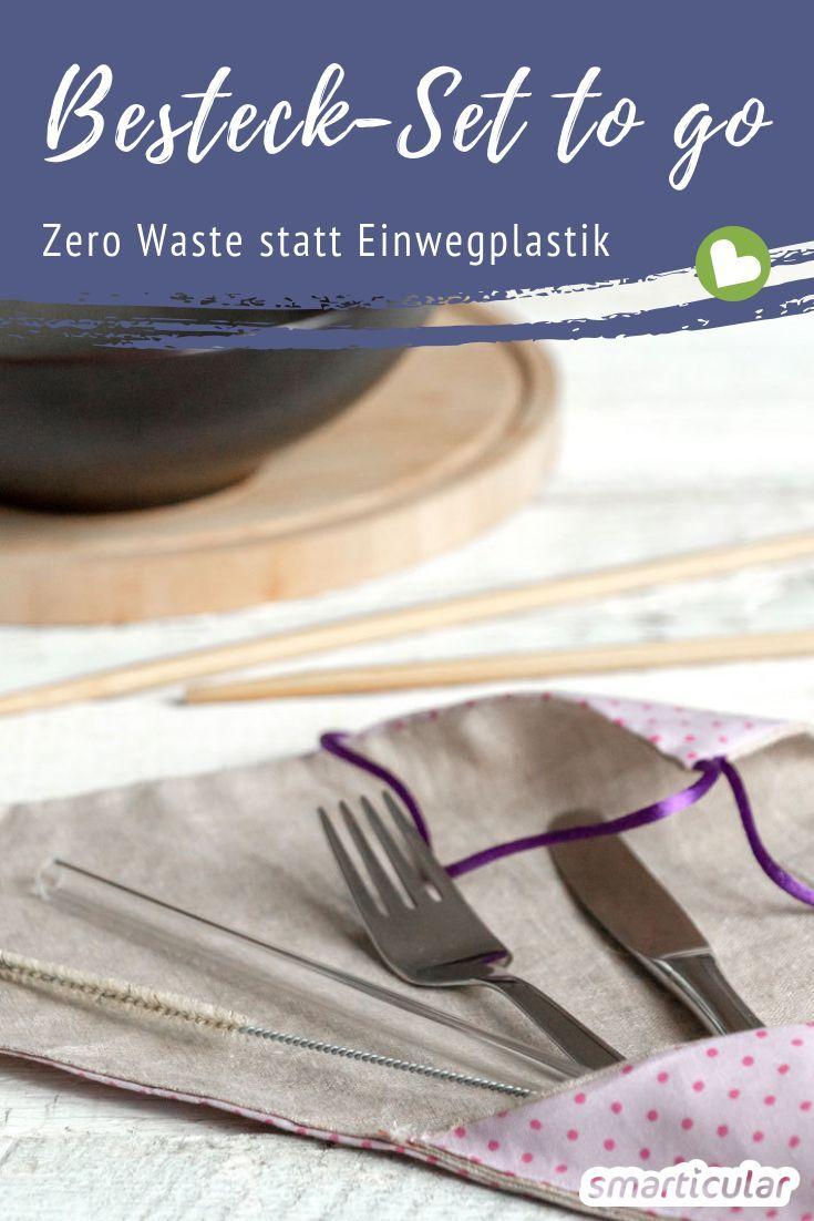 Statt Einwegbesteck aus Plastik zu verwenden, wenn du unterwegs etwas isst, kannst du dir dieses wiederverwendbare Zero-Waste-Besteckset selbst zusammenstellen.