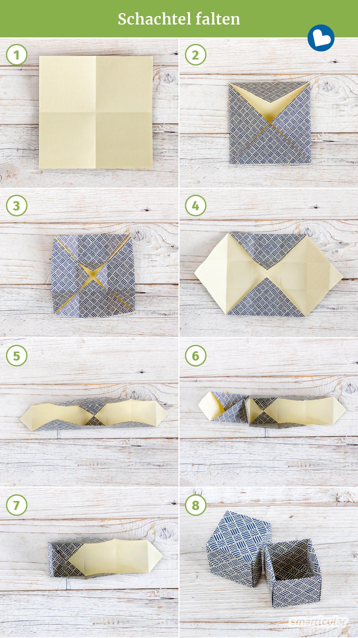 Um Plastik und Müll zu vermeiden, kannst du für Geschenke und zur Aufbewahrung Schachteln falten aus (Alt-)Papier, die sich immer wieder verwenden lassen.