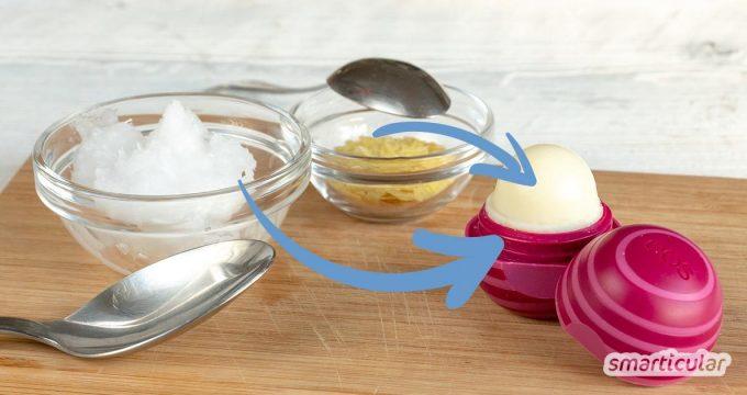 Statt einen leeren eos-Lippenbalsam wegzuwerfen und einen neuen Pflegestift zu kaufen, kannst du die Hülse recyceln, indem du sie mit einem selbst gemachten Balsam wiederbefüllst.