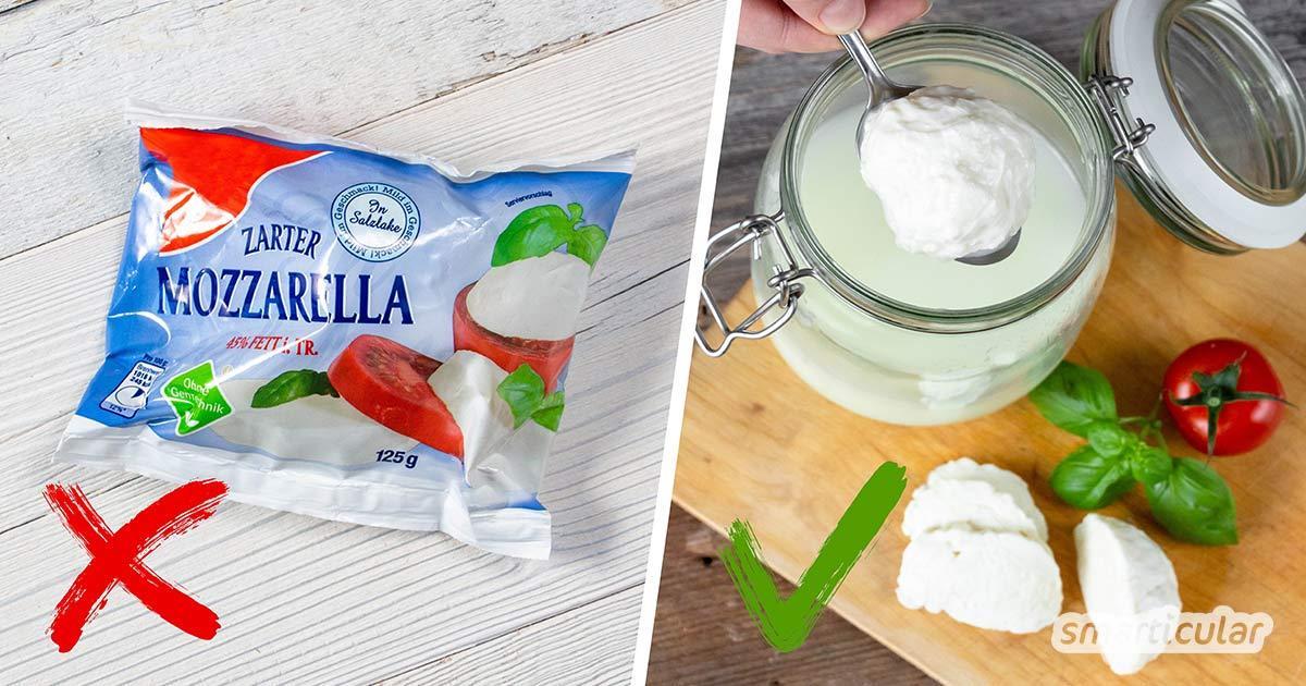 Statt Mozzarella einzeln in Plastiktüten zu kaufen, kannst du ihn auch selber machen - ohne Verpackungsmüll und viel einfacher, als du vielleicht denkst!