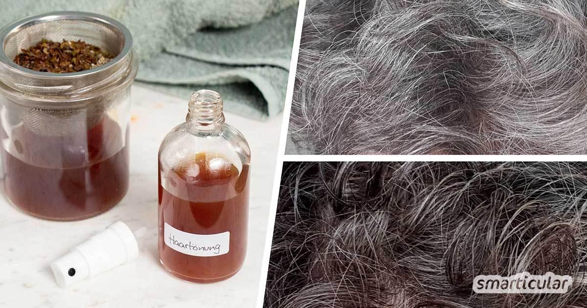 Vergiss chemische Haartönungen: Grau werdende Haare können ganz einfach mit pflanzlichen Bestandteilen getönt werden, um einen frischen, natürlichen Look zu erhalten.