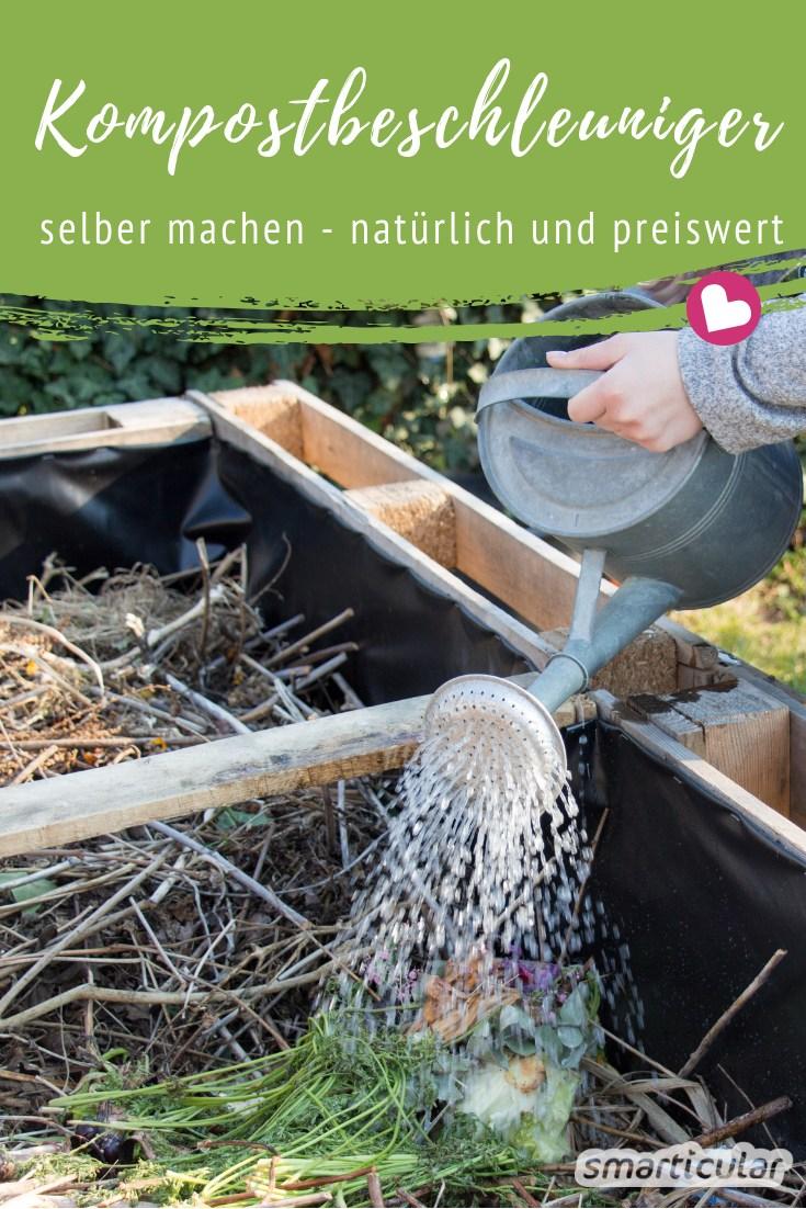 Mit einem selbst gemachten, natürlichen Kompostbeschleuniger wird die Zersetzung im Komposthaufen angekurbelt, und der Humus ist schneller fertig.