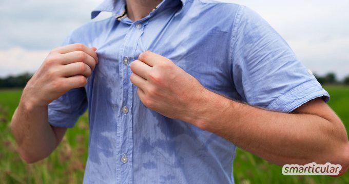 Gegen Schweißgeruch und Schwitzflecken helfen einfache Hausmittel wie Apfelessig und Natron. Gesundheitsgefährdende aluminiumhaltige Deos sind gar nicht notwendig.