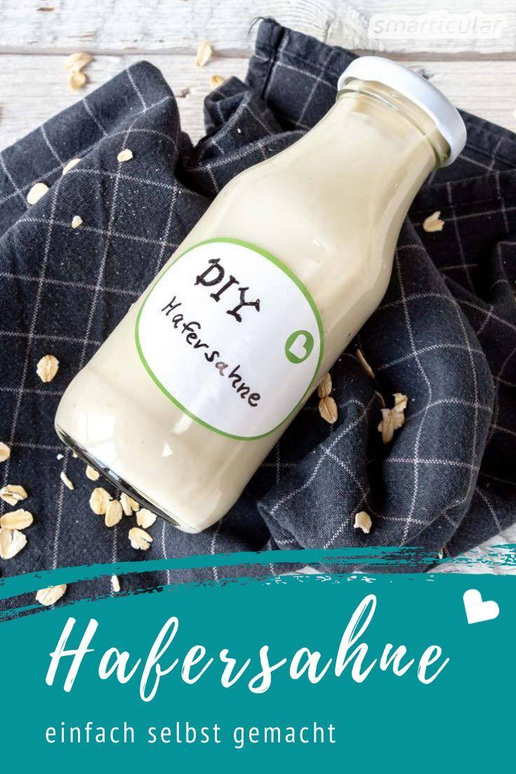 Hafersahne als Alternative zu tierischer Sahne kannst du einfach selber machen. Dieses einfache Rezept spart Verpackungsmüll, und die vegane Sahne-Alternative kostet auch noch weniger als im Laden.